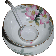 NORITAKE AZALEA whip cream bowl with flat spoon and under plate