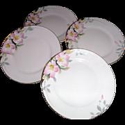 AZALEA NORITAKE 1920's , FOUR bread and butter plates