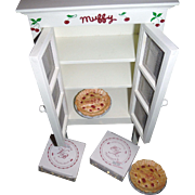 SALE Collectible MUFFY VANDERBEAR Cherry pie cabinet with pies, and dress