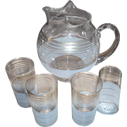 SALE Vintage Retro LEMONADE SET,  Pitcher and 4 glass,