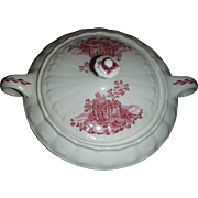 SALE Taylor, Smith, and Taylor. Pattern is RED Abbey scenes, COVERED VEGETABLE bowl