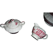 SALE TAYLOR , SMITH AND TAYLOR,. Pattern is Red Abbey  scenes,  Creamer and Sugar and lid