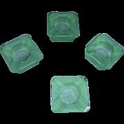 SALE 4 Vintage SQUARE open salts , very lite green (jadeite color)