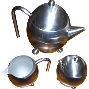 Unique 3 pieces brushed STAINLESS TEA POT  with creamer and sugar