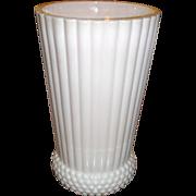 Shell Pink Milk Glass Jeannette, 9 inch Vase RARE
