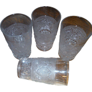 DUNCAN AND MILLER vintage Sandwich pattern, Ice tea Tumblers (6)