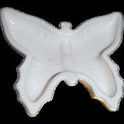 Shell Pink Milk Glass Jeannette, butterfly  ASHTRAY .