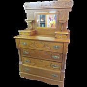 SOLD Eastlake Victorian Golden Oak Mirrored Dresser Candle Stands Circa 1900