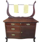 Colonial Revival Queen Anne Style Mahogany Washstand With Towel Harp, Circa 1895-1900