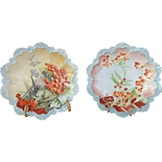 "Pair Of 8"" MZ Austria Cabinet Plates, Circa1884-1909, Beautifully Scalloped, Hand-Painted, ."