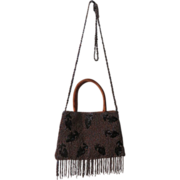 Bronze Beaded Handbag with Black Bugle Beaded Tulips Circa 1940