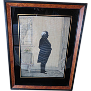 Daniel Webster Silhouette Pen Ink and Needlepoint Framed, Circa 1850