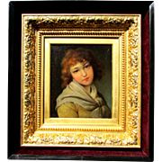 19th c. Girl Portrait Painting in a Gilt Gesso Frame within a wooden shadow box ...
