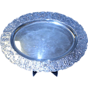 """REDUCED Beautiful Ornate Silver Plate Serving Oval Footed Tray  20 """""""