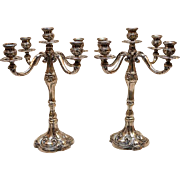 SOLD Magnificent European Succession 800 Silver MASSIVE CANDELABRA PAIR 5-LIGHT, Ht. 12 1/2""