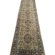 SALE Persian rug Runner Gum 100% silk Ivory green 11 ft. 4 in. x 2 ...