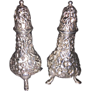 SALE Pair Sterling Silver Footed Repousse Salt & Pepper Shakers