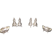 SALE Four Sterling Silver Footed Repousse Salt & Pepper Shakers along with two open salt