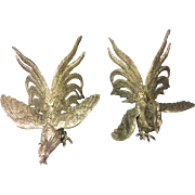 SALE Pair of Silver Plated Large Fighting Cocks by Roberto