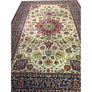 "SALE Persian Tabriz Oriental Area Rug Hand Knotted Ivory Blue Wool Carpet 12'12""x8'40"""