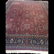 """SALE Vintage Indo Tabriz Oriental Rug - Floral Carpet - 12'2"""" x 14'10"""" Excellent con"""