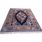 SALE Vintage Chinese Sculpted Rug in Blue & Ivory Decorated with Flowers . Excellent Condition