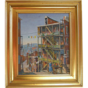 "=FOLK ART= urban landscape, ""Race Street Ghetto"" by J. Rogers"