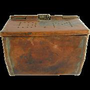 "SALE =RARE= Copper belt-worn bait box ca.1850-1900, marked ""BM"""