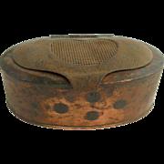 =RARE= Antique oval copper & tin fishing bait box ca.1850-1875
