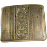 Sterling silver cigarette case, antique ca.1900, large rectilinear, business cards
