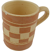 1920's Czech checkerware mug light brown