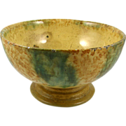 Yellowware ca.1850-1900 multi-glaze polychromatic footed bowl compote