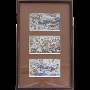THREE - WWII CBI cartoon postcards