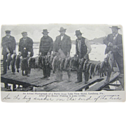RPPC 1907, bass fishermen, Leesburg, Florida.