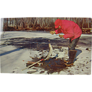 RPPC in color, 1963, Ice Fishing Pickerel.