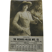 RPPC advertising 1913, calendar girl angler, Illinois.