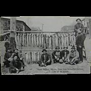 RPPC, linen, fishing ca.1930's, lake trout, Minnesota.