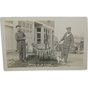 RPPC, fishing 1920's, a day's catch of trout, Model A.