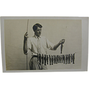 RPPC, trout fishing ca.1915, eastern U.S.