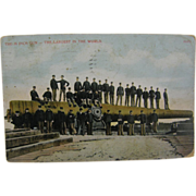 "RPPC colorized, 1912, WWI military, 16"" gun."