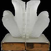 SALE Deco Bookends, pair, ca.1920's, pigeons