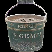 SALE =SCARCE= Fishing minnow bait bucket, Falls City green, ca.1890