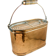 =RARE= Copper minnow bait bucket, Kentucky, ca.1880's, oval