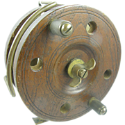 SALE Antique wood fishing reel ca.1890, oak and brass, surf casting