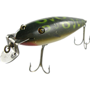 SALE Fishing lure, wood CCBCO, ca.1920, painted pike minnow green with spots