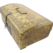SOLD 1700's document box, dome top tooled leather lined with Old English newspaper