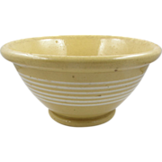 Yellowware bowl, ca.1850-1900, American, 6 white bands footed