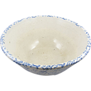 "=BIG= BLUE spongeware mixing bowl, 12"" diameter, American ca.1880"