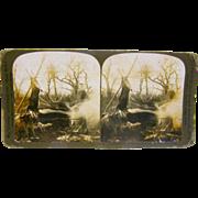 -SCARCE- 1903 antique stereoview by White, deer hunter's log camp scene #1