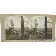 1900 logging camp, Milles, mobile home, draft horses - antique stereoview